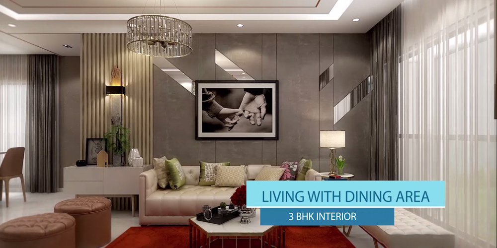 3BHK Living Room with dining