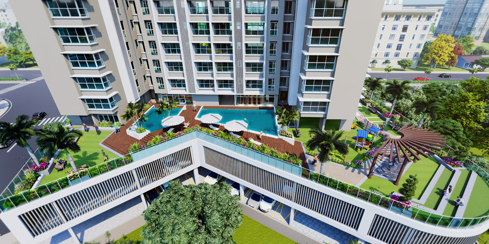 Terrace garden with jogging track